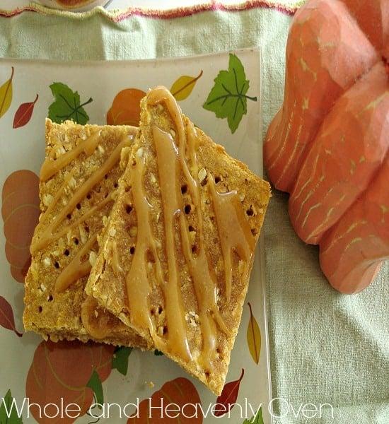Pumpkin Oat Shortbread Squares With Caramel