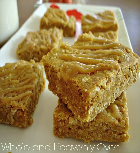 Pumpkin Oat Shortbread Squares With Caramel