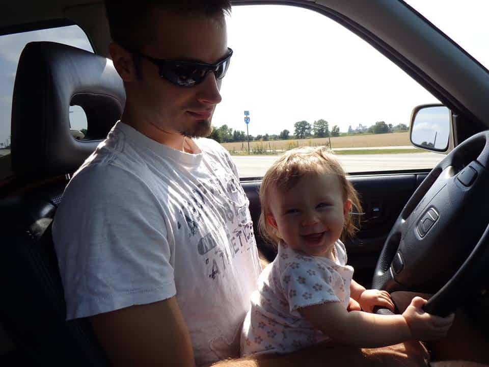 Daniel and his daughter, Lilly--I just think this is the most precious picture--and no, Lilly wasn't really driving!