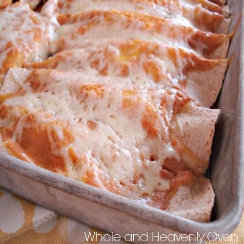 Beef 'N' Bean Pumpkin Enchiladas