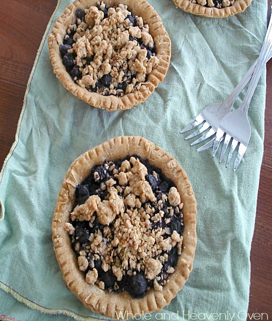 Mini Blueberry Tarts With Oatmeal Cookie Streusel