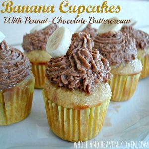 Banana Cupcakes With Peanut-Chocolate Buttercream