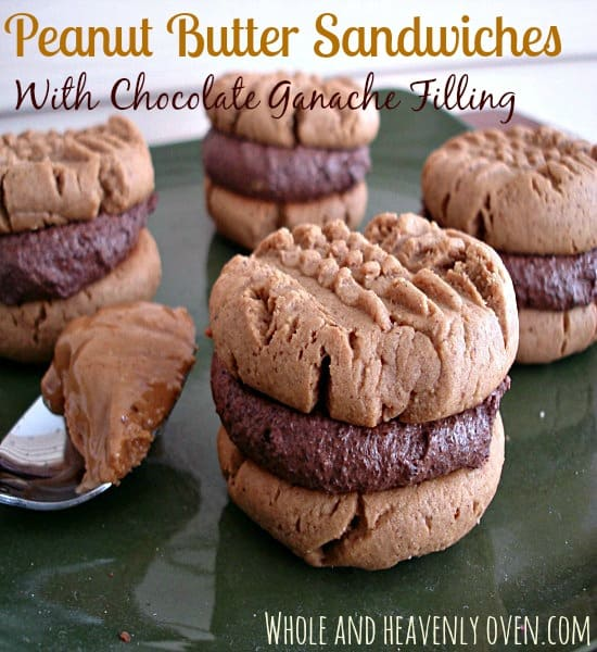 Peanut Butter Sandwiches With Chocolate Ganache Filling