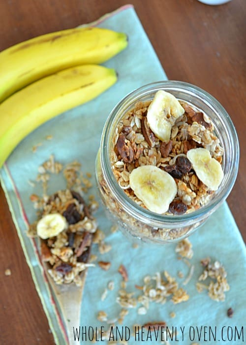 Banana Pecan Granola   wholeandheavenlyoven.com