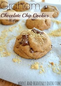 Graham Chocolate Chip Cookies| wholeandheavenlyoven.com