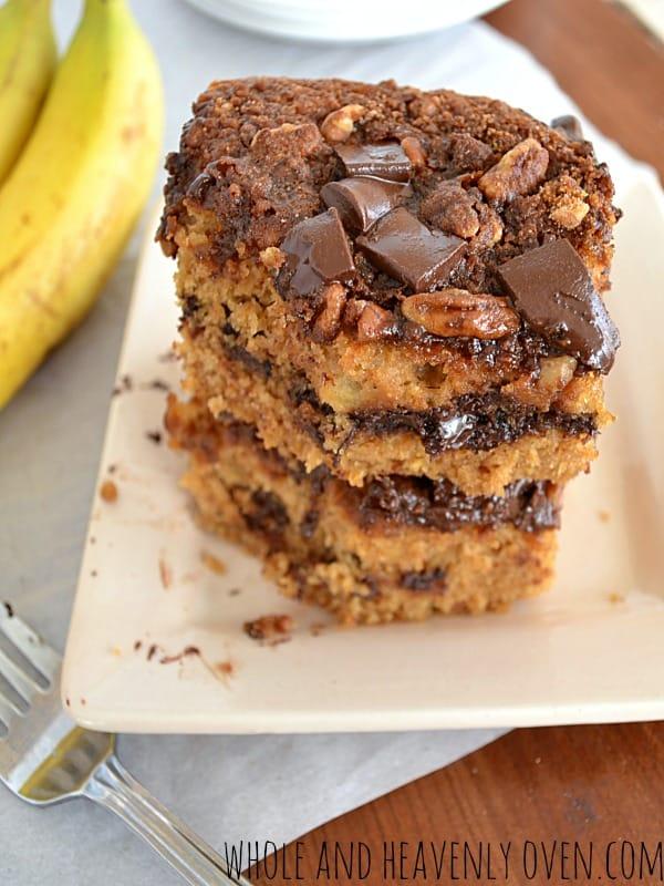 Banana Chocolate Chip Streusel Coffee Cake | wholeandheavenlyoven.com