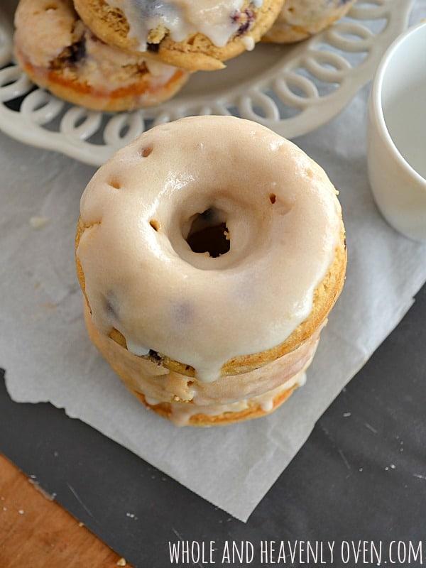 Blueberry Banana Donuts With Vanilla Glaze  wholeandheavenlyoven.com