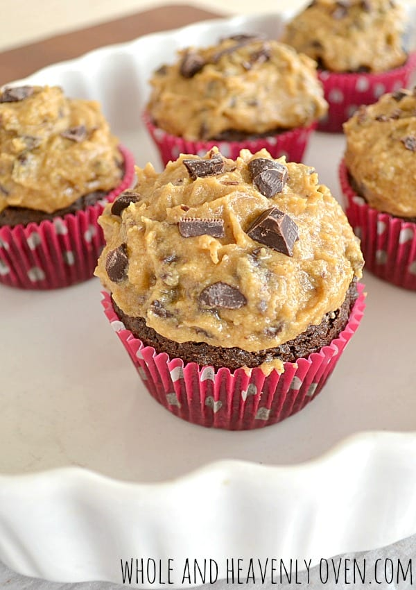 Brownie Cupcakes With Cookie-Dough Frosting + A CHARM IT! Giveaway!| wholeandheavenlyoven.com