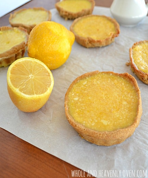 Lemon Tarts With Fresh Blueberry Sauce   wholeandheavenlyoven.com