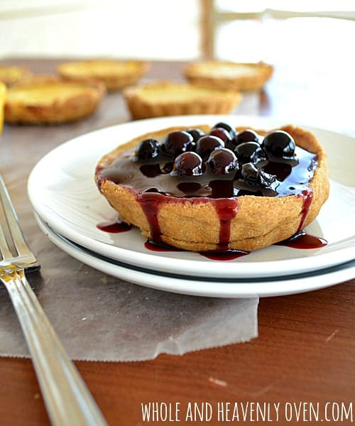 Lemon Tarts With Fresh Blueberry Sauce | wholeandheavenlyoven.com