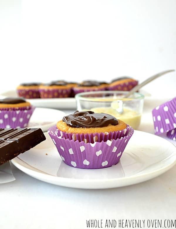 Boston Cream Pie Cupcakes | wholeandheavenlyoven.com