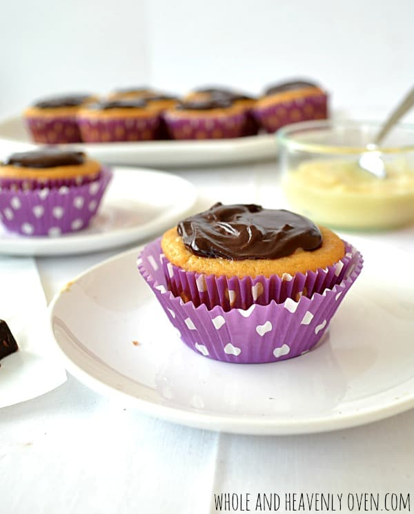Boston Cream Pie Cupcakes | wholeandheavenlyoven.com