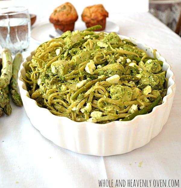 Chicken Pesto Fettucine With Asparagus + Feta | wholeandheavenlyoven.com