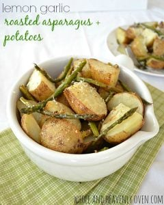 Lemon Garlic Roasted Asparagus and Potatoes | wholeandheavenlyoven.com