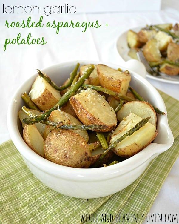Lemon Garlic Roasted Asparagus and Potatoes | wholeandheavenlyoven.com