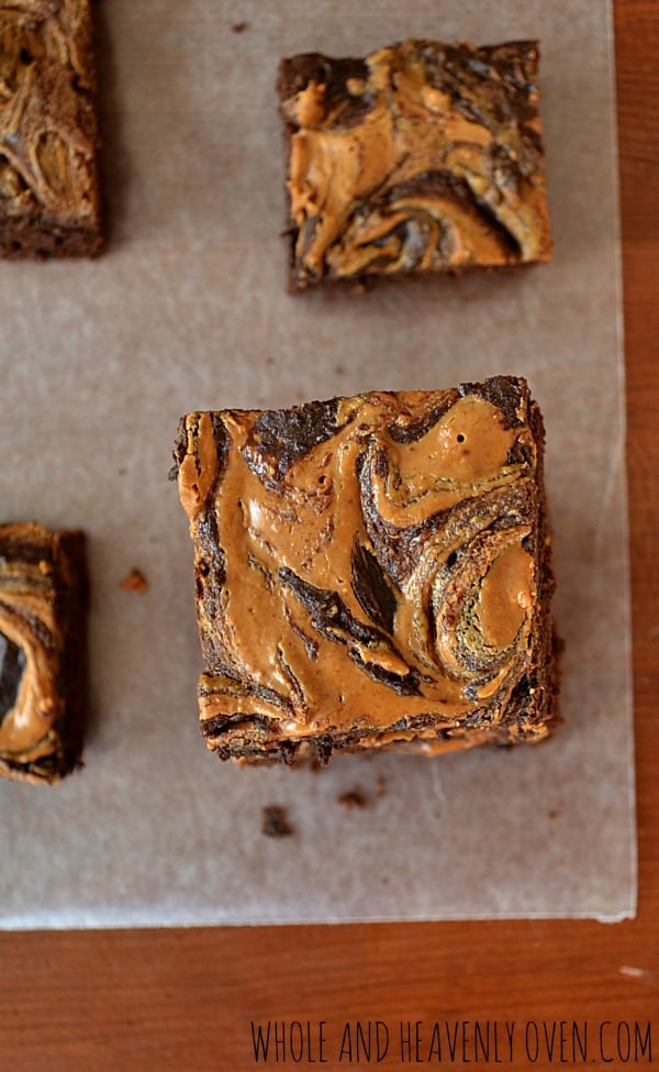 Peanut Butter Swirl Fudge Brownies | wholeandheavenlyoven.com
