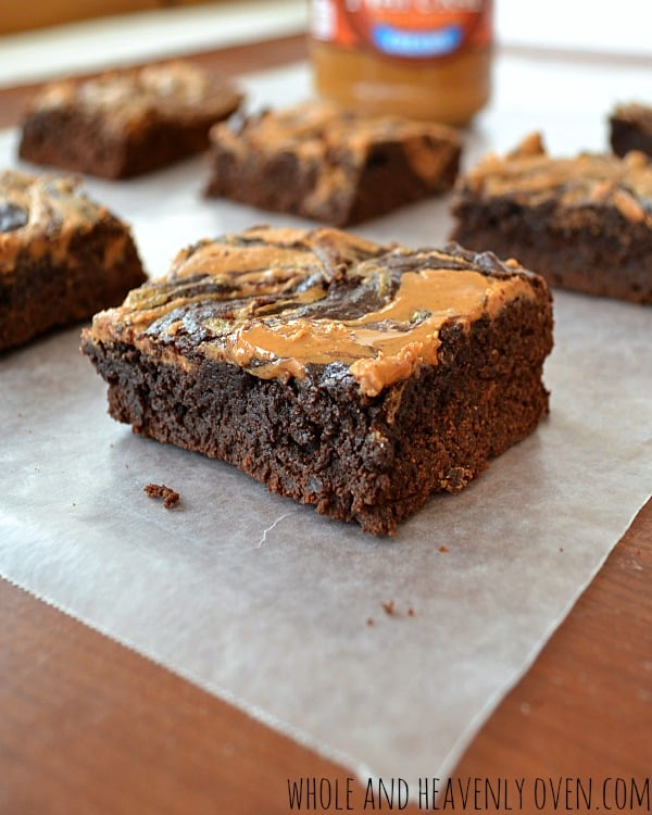 Peanut Butter Swirl Fudge Brownies | wholeandheavenlyoven.com