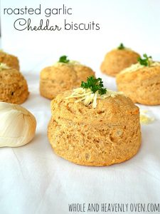 Roasted Garlic Cheddar Biscuits | wholeandheavenlyoven.com