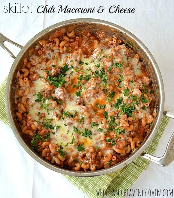 Skillet Chili Macaroni & Cheese | wholeandheavenlyoven.com