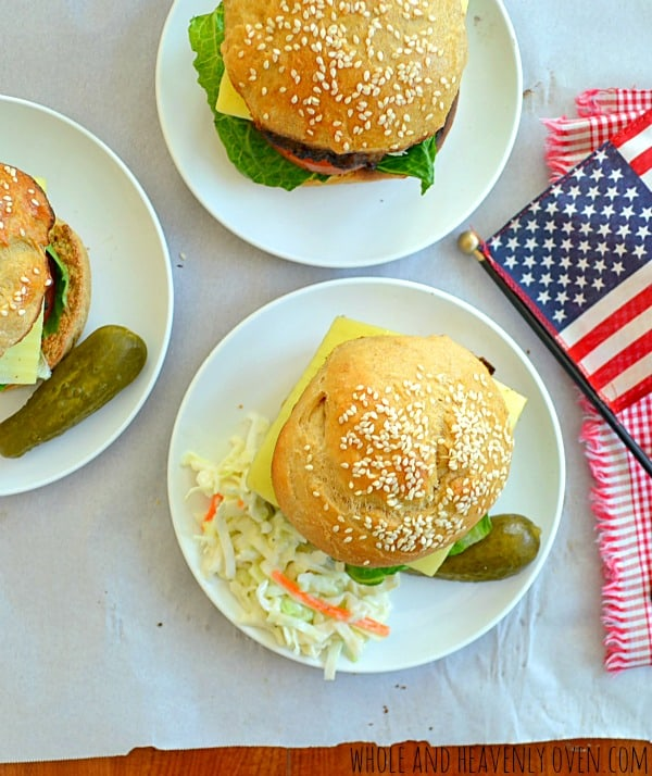 All-American Loaded Hamburgers | wholeandheavenlyoven.com