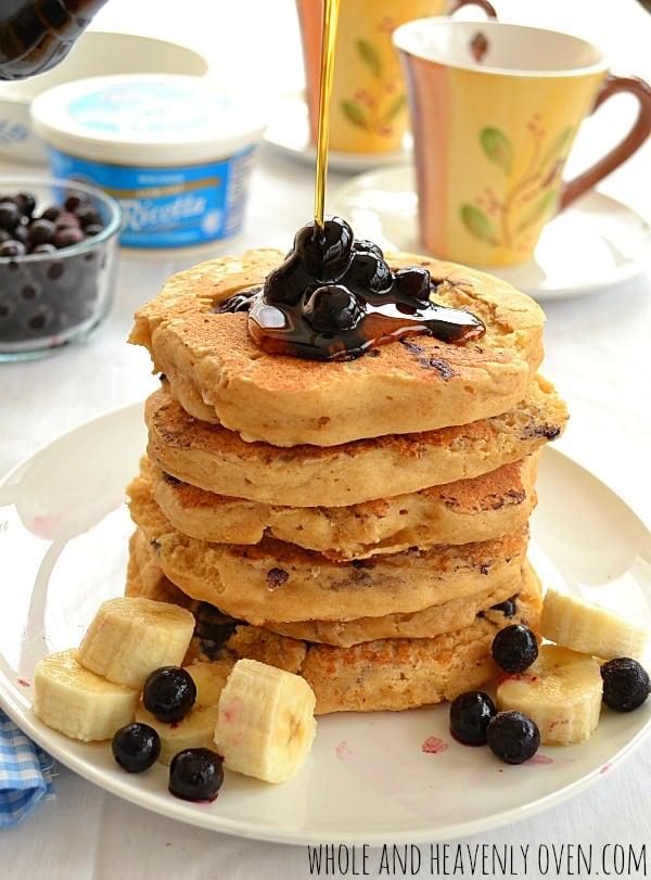 Blueberry Ricotta Pancakes | wholeandheavenlyoven.com