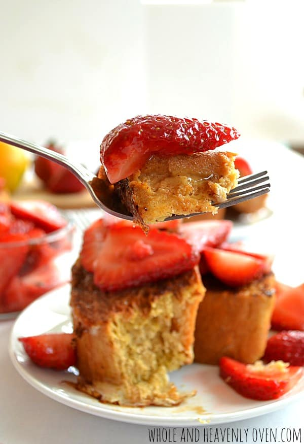 Cinnamon-Crusted French Toast With Strawberry Orange Sauce   wholeandheavenlyoven.com