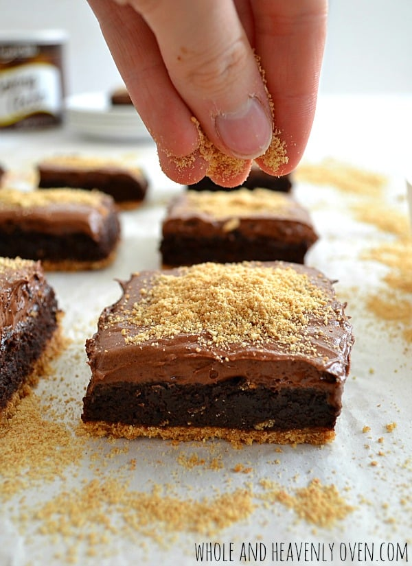 Graham-Bottom Brownies With Whipped Chocolate Ganache | wholeandheavenlyoven.com