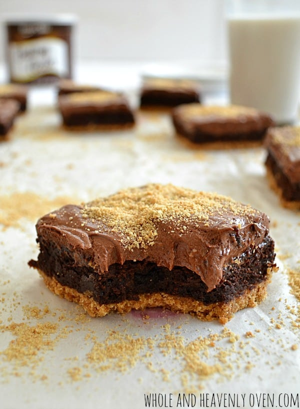 Graham-Bottom Brownies With Whipped Chocolate Ganache7