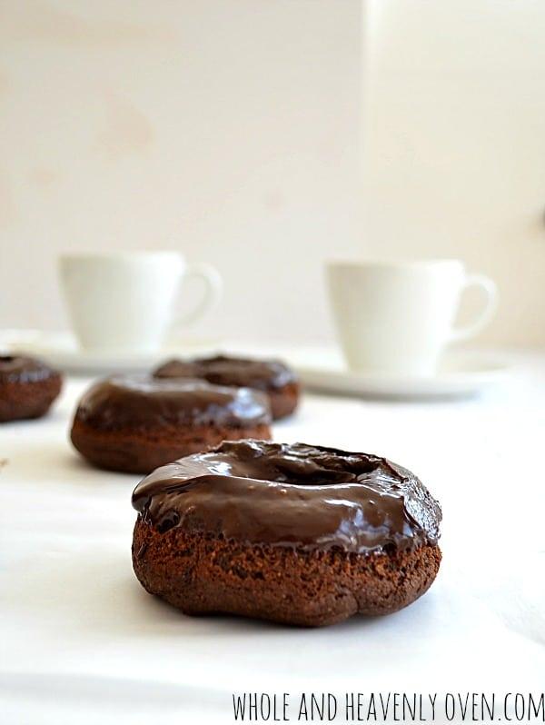 Healthy Chocolate Donuts With Chocolate Ganache | wholeandheavenlyoven.com