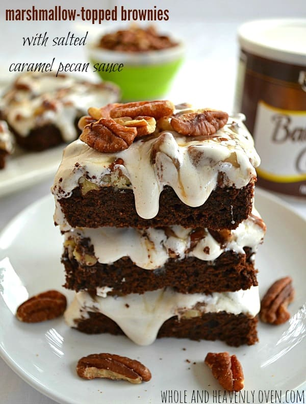 Marshmallow-Topped Brownies With Salted Caramel Pecan Sauce12