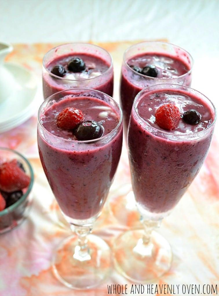 Mixed Berries 'N' Cream Smoothies | wholeandheavenlyoven.com