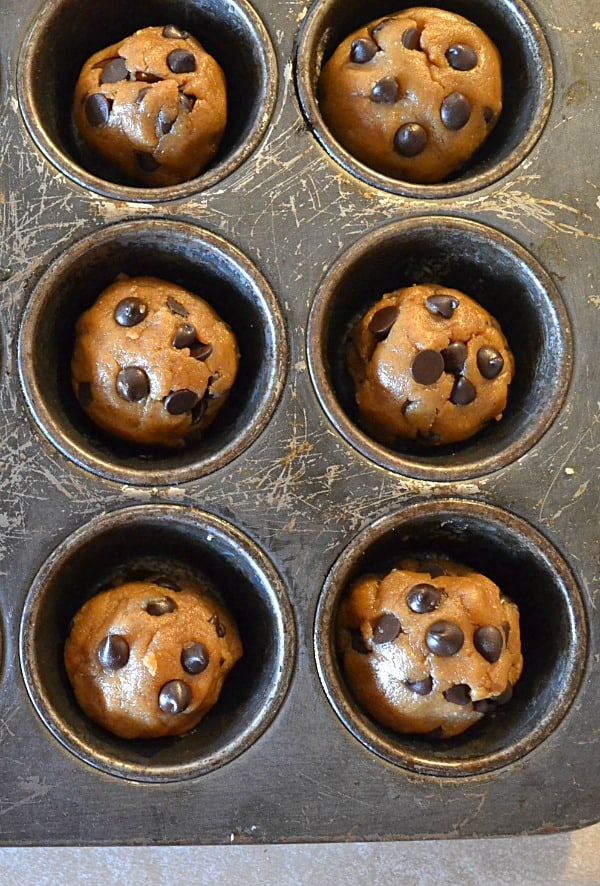 Peanut Butter Chocolate Chip Cookie Cups | wholeandheavenlyoven.com