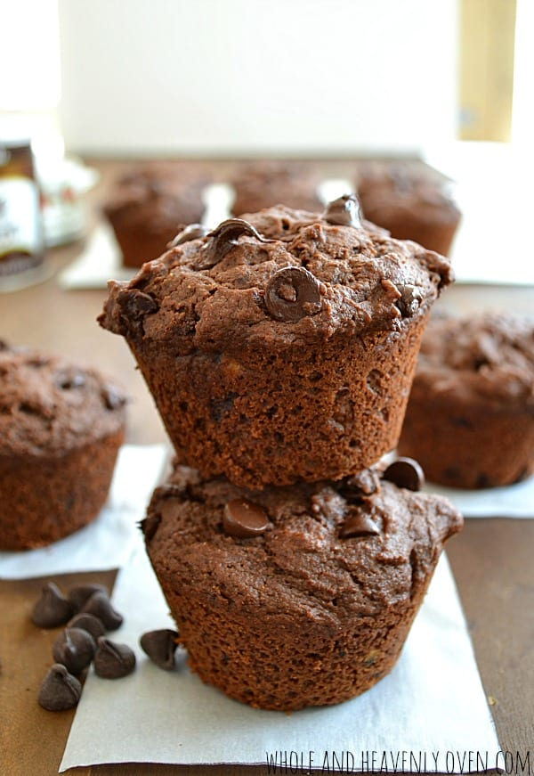Skinny Double Chocolate Muffins | wholeandheavenlyoven.com