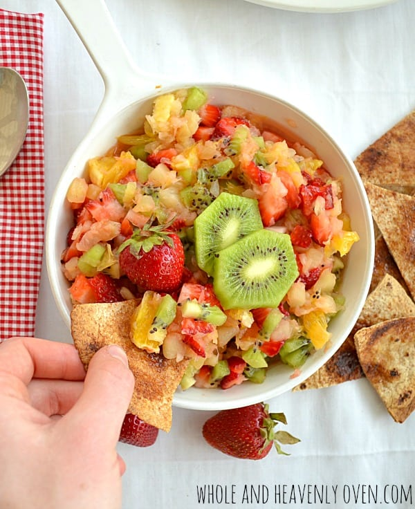 Summer Fruit Salsa With Cinnamon Chips | wholeandheavenlyoven.com