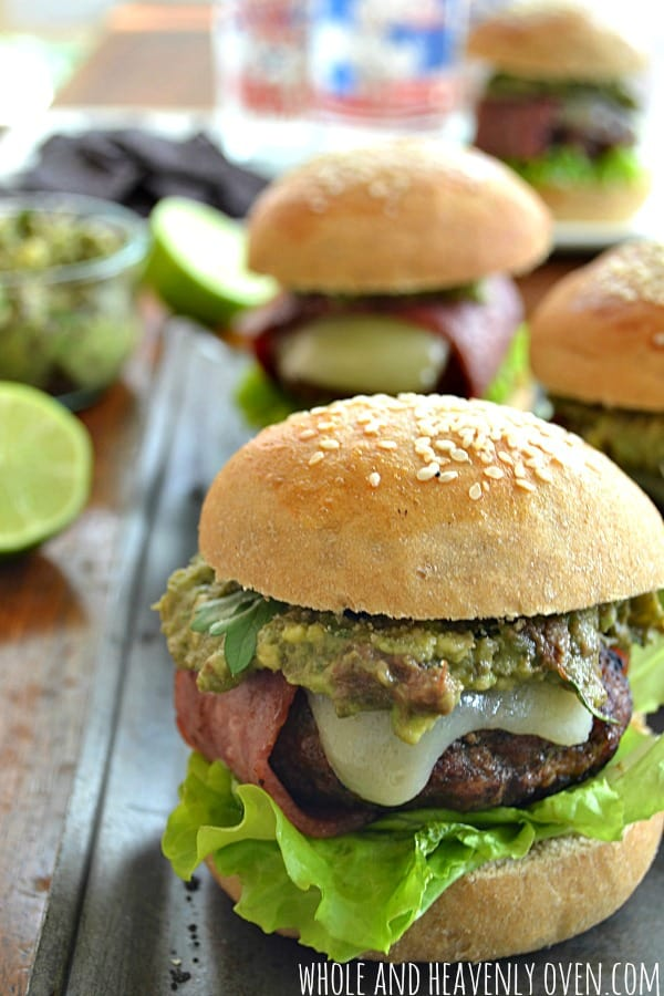 Bacon-Wrapped Cheeseburgers with Smashed Avocado | wholeandheavenlyoven.com