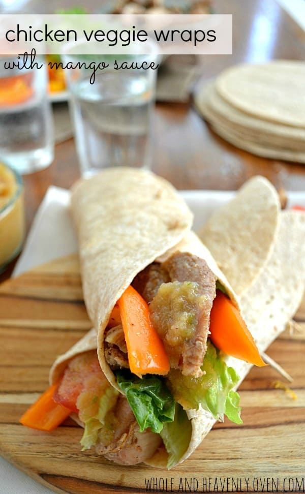 Chicken Veggie Wraps with Mango Sauce | wholeandheavenlyoven.com