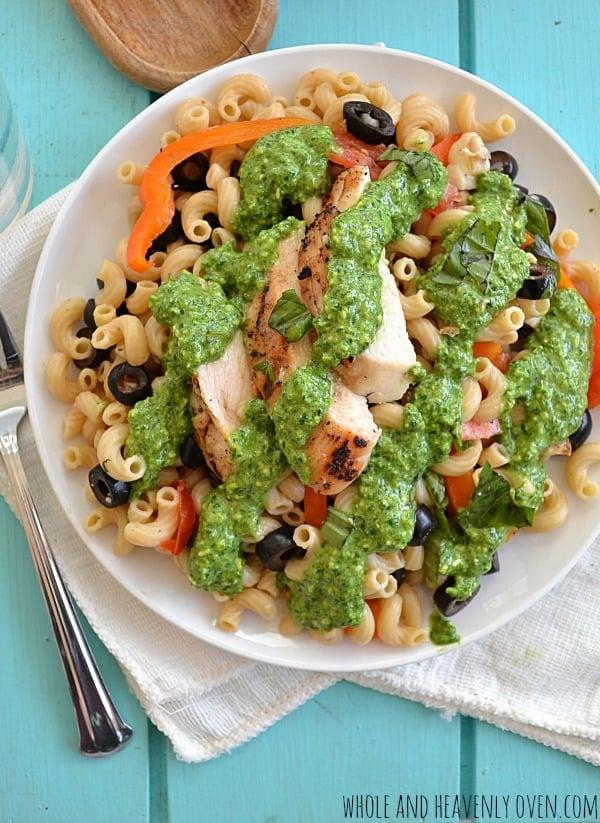 Grilled Chicken Veggie Pasta Salad With Pesto Dressing11