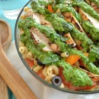 Grilled Chicken Veggie Pasta Salad with Pesto Dressing