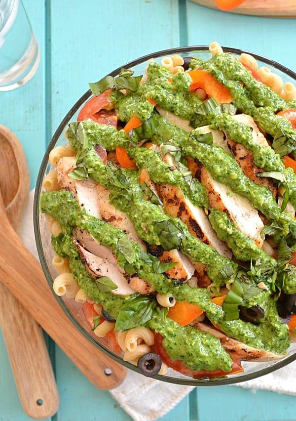 Grilled Chicken Veggie Pasta Salad With Pesto Dressing   wholeandheavenlyoven.com