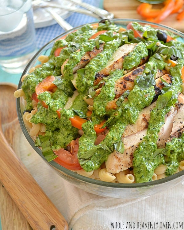 Grilled Chicken Veggie Pasta Salad With Pesto Dressing | wholeandheavenlyoven.com