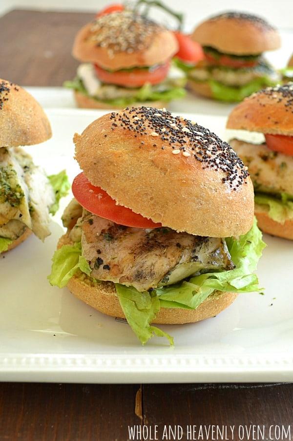 Grilled Pesto Chicken Sliders | wholeandheavenlyoven.com
