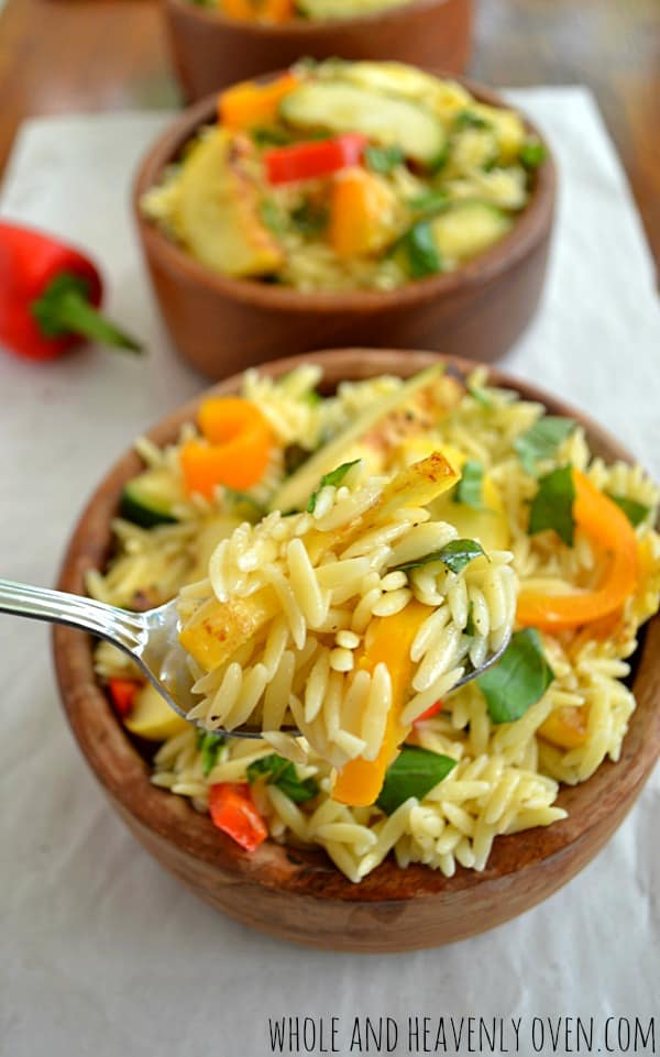 Grilled Veggie Orzo Pasta Salad | wholeandheavenlyoven #salads #healthy