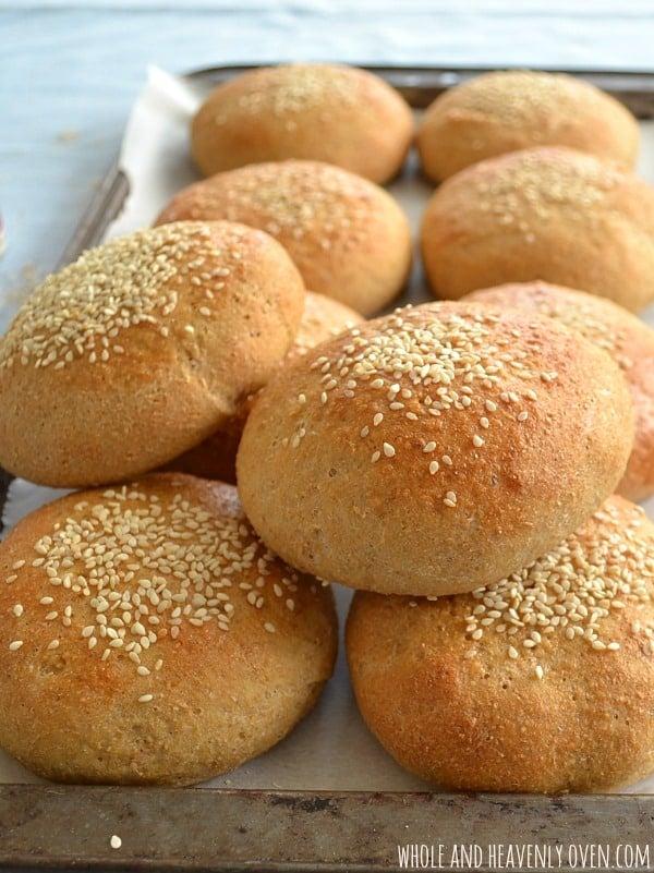 Homemade Whole-Wheat Hamburger Buns | wholeandheavenlyoven.com