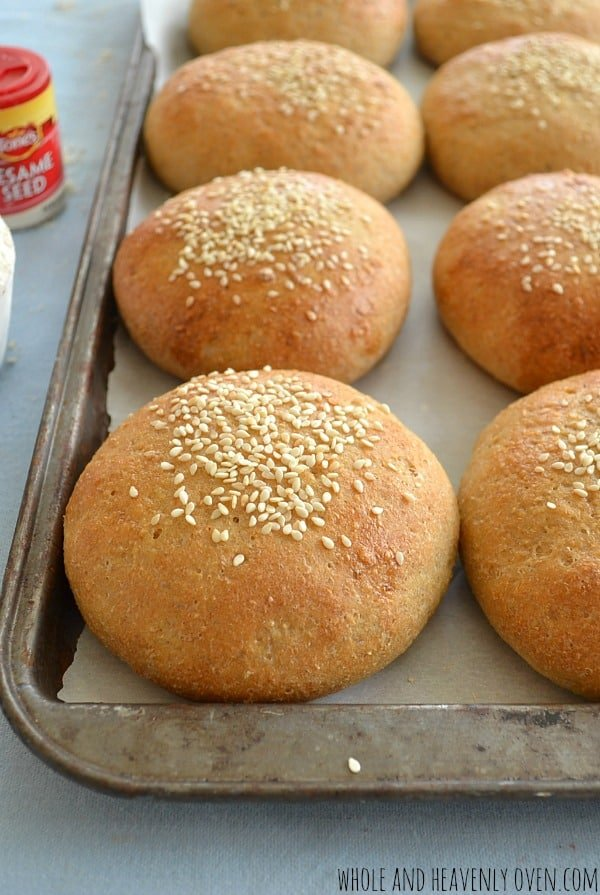 Why buy hamburger buns when you can make your own? These soft, chewy hamburger buns taste 10x better than store-bought and are SO easy to whip up!