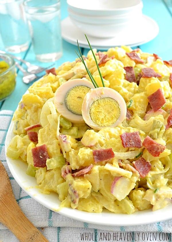 Loaded Classic Potato Salad | wholeandheavenlyoven.com #salads #cookouts
