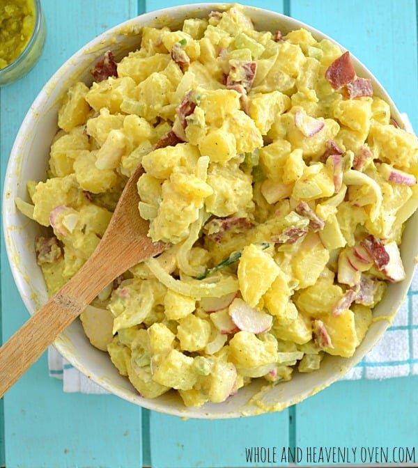 Loaded Classic Potato Salad | wholeandheavenlyoven.com #salads #cookouts