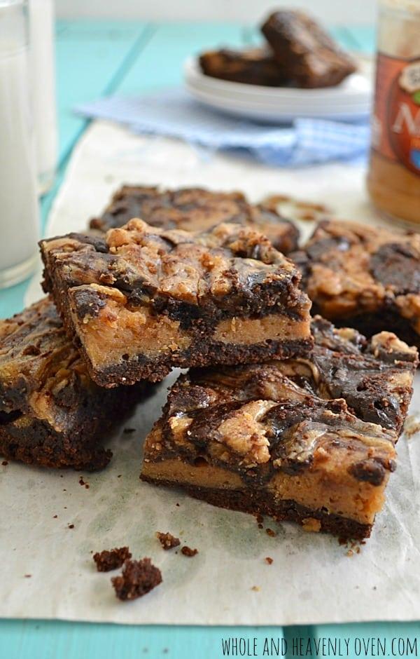 Peanut Butter Cheesecake Brownies | wholeandheavenlyoven.com