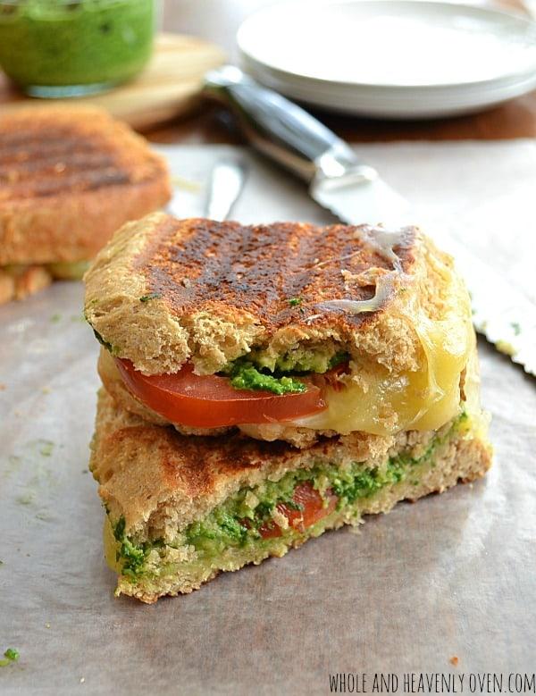 Pesto-Tomato Grilled Cheese Sandwiches | wholeandheavenlyoven.com