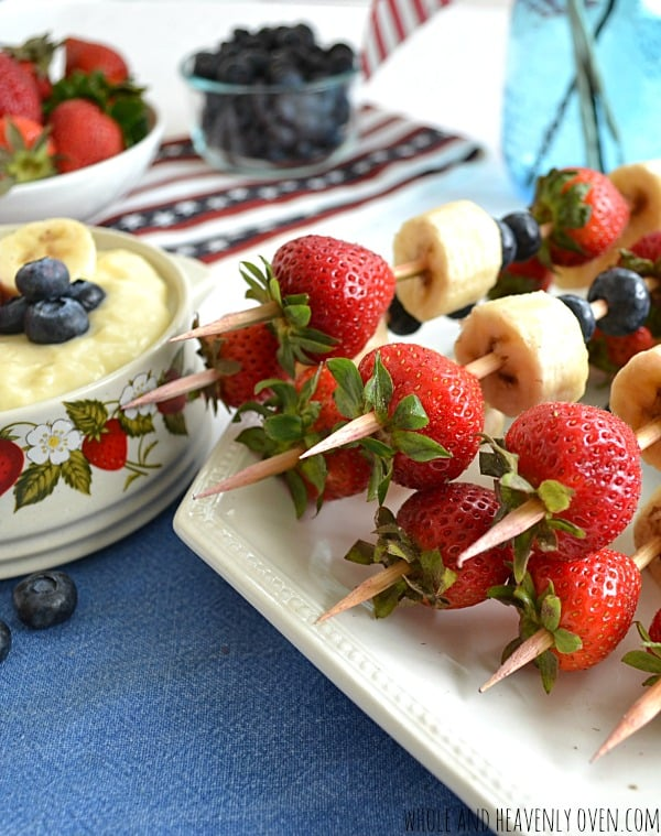 Red, White and Blue Kabobs with Vanilla Pudding Dip | wholeandheavenlyoven.com