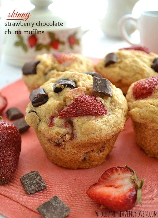 Skinny Strawberry Chocolate Chunk Muffins | wholeandheavenlyoven.com